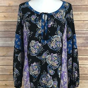 Style&Co. Womens Peasant Blouse Paisley 1X